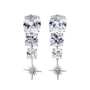 Silver square crystal pendant earrings